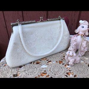 Vintage White beaded Clutch wristlet Wedding